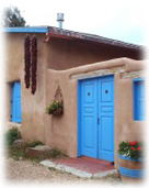 An adobe house in Santa Fe, New Mexico.